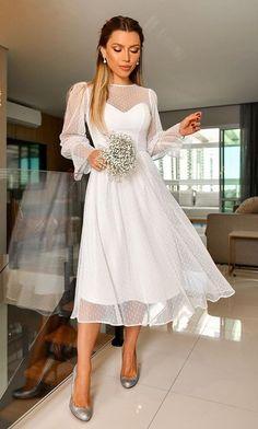 Simple Dresses, Pretty Dresses, Beautiful Dresses, Simple Party Dress, Civil Wedding Dresses, Dream Wedding Dresses, Wedding Dress Midi, Courthouse Wedding Dress, Boho Wedding