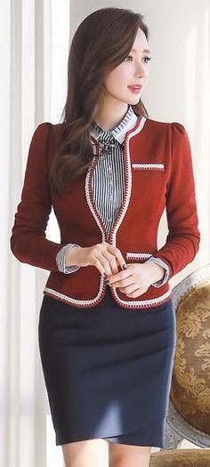 StyleOnme_Ruched Pencil Skirt #navy #pencilskirt #koreanfashion #fallcolor…