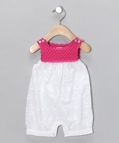 Crochet top & eyelet bottom.  Pink & White Bubble Bodysuit by Hug Me First on zulily today!