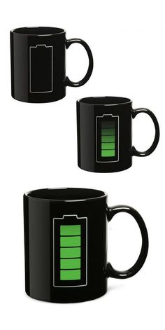Battery Mug // Battery level charges up when you pour in your hot drink #product_design