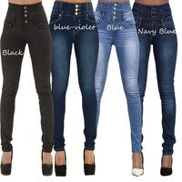 Gender:Women Item Type:Jeans Fit Type:Skinny Decoration:Buttons,Pockets Jeans Style:Pencil Pants Fab