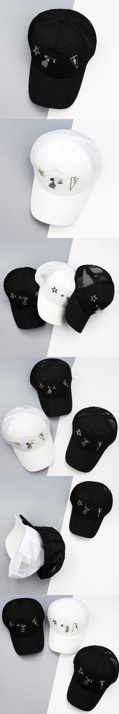 Fashion Novel Cool Design Baseball Hat with Metal Stars Pins Ornaments Men Women Snapback Caps Unisex Cotton Baseball Hat