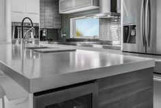 Béton Multi Surfaces - Comptoir de béton poli Cottage Style, Interior And Exterior, Countertops, Kitchen Remodel, Sweet Home, House Design, Architecture, Home Decor, Kitchens