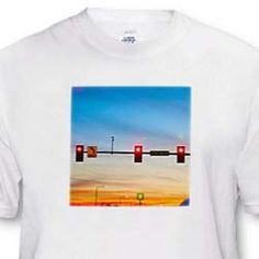 Red Street lights above the road and a sunset T-Shirt