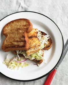 Grilled Fish Sandwich with Cabbage Slaw Recipe