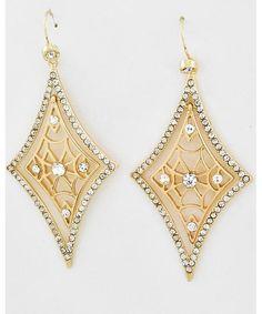 443760 Gold Tone / Clear Rhinestone / Lead&nickel Compliant / Diamond Dangle / Fish Hook Earring Set