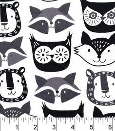 Snuggle Flannel Fabric-Fox Faces Gray