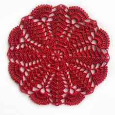 Vintage Handmade Lace Doily Christmas gifts for mom Red Crochet Coaster Pattern, Crochet Lace Edging, Crochet Doily Patterns, Crochet Round, Cotton Crochet, Crochet Doilies, Crochet Flowers, Thread Crochet, Doily Wedding