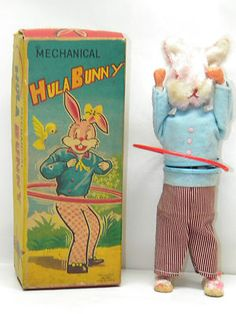 Vintage Toy HULA BUNNY Mechanical Wind Up Rabbit Antique ALPS TOYS
