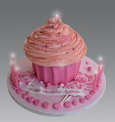 Pink Giant Cupcake   Flickr - Photo Sharing!