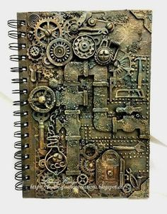 Hi everyone, As I mention on my last post, I was working on another notebook (I'm seriously hooked) this is so much fun, F. Chat Steampunk, Steampunk Book, Steampunk Artwork, Style Steampunk, Steampunk Crafts, Steampunk Design, Mixed Media Canvas, Mixed Media Art, Mix Media