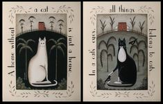 2 Kitty Cat Quotation Folk Art Prints. White and Black Tuxedo cats, saltbox houses. Coordinating set, pair. Whimsical 11x14 art prints.