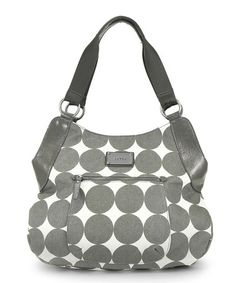 I like how this so does not look like a diaper bag! Take a look at this Dots Dove Gray Debbie Tall Hobo Diaper Bag by OOYOO on #zulily today!