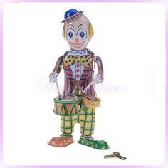 Wind Up TIN TOY DRUMMING CLOWN Drum Robot clockwork vintage Retro Circus Gift