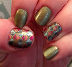 Geometric Stained Glass Nail Art using China Glaze's Holographic nail polish ... (If re-pinned, please award me credit! Thanks!)