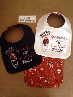 REVERSIBLE Texas LONGHORNS inspired Baby Bib by RoszannasDolls