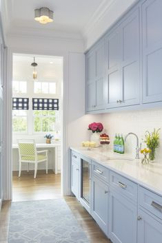Kitchen Cabinet Colors With White Appliances 2020 - Home Comforts Kitchen Pantry Cabinets, Kitchen Cabinet Colors, Kitchen Colors, Kitchen Backsplash, Kitchen Sink, Blue Backsplash, Cupboards, Kitchen Interior, New Kitchen