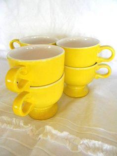 vintage yellow mikasa cup mug set by snugsnuggery on Etsy, $35.00