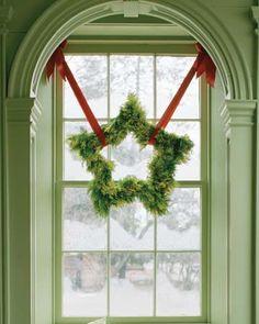 Star Shaped Wreath Made of Fresh Greenery by Martha Stewart
