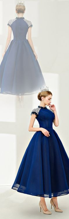 Ball Gown High Neck Tea Length Spandex Cocktail Party Prom Dress with Beading Crystals/Rhinestones