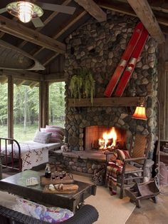 - I want that fireplace! RUSTIC HOME DECOR - Fireplace designs for cabins and cottages are what dreams are made of. Few things are as magical and comforting as relaxing beside a crackling fire in a cozy cabin hearth! Lake Cabins, Cabins And Cottages, Small Cabins, Cabin In The Woods, Sleeping Porch, Log Cabin Homes, Cozy Cabin, Guest Cabin, Winter Cabin