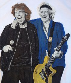 Mick Jagger & Keith Richards T-shirt  Artistic  Painted Tee