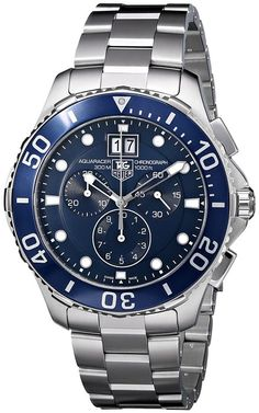 nice Tag Heuer Aquaracer Grande Date Men's Quartz Watch with Blue Dial Chronograph Display and Silver Stainless Steel Bracelet Tag Watches, Cool Watches, Rolex Watches, Rolex Gmt, Wrist Watches, Breitling, Stainless Steel Watch, Stainless Steel Bracelet, Tag Heuer Aquaracer Chronograph