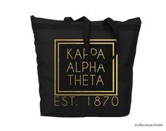KAO Kappa Alpha Theta Foil Frame Sorority Tote by BoutiqueGreek