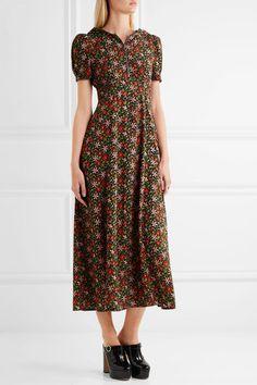 ALEXACHUNG - Hooded Floral-print Crepe Midi Dress - Red