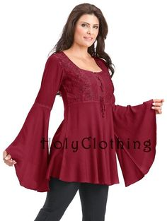 Ruby Red Rhiannon Renaissance Embroidered Lace-Up Bell Sleeve Tunic Top - Burgundy - Shop by Color - Tops