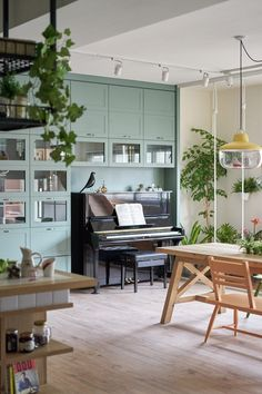 Living with Plants: A Family Apartment in Taiwan: Gardenista Piano Living Rooms, Piano Room, Living Spaces, Family Apartment, Apartment Living, Home Interior, Interior Design, Family Room, Home And Family