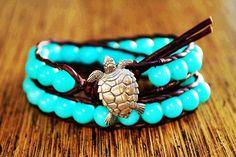 Sea Turtle Bracelet, Leather Beaded Wrap Bracelet, Beachy Jewelry, Nautical Jewelry, Bohemian, Boho Chic, Surfer Sea Chic