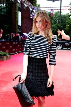 Clemence Poesy   - Stripes + Feminine Skirt