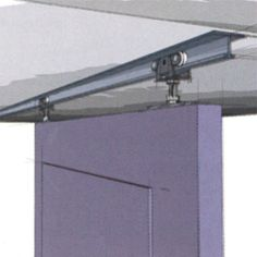 Open mechanism ceiling mount door rail. You can see the mechanism, unlike the other option listed here.