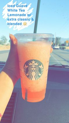 DIY STARBUCKS DRINK: Venti Iced Guava White Tea Lemonade // ✨ Am I the only one who hates waiting in line to order a drink, and when I finally get to the counter I have absolutely no idea what I want to order. Starbucks Hacks, Starbucks Frappuccino, Menu Secret Starbucks, Healthy Starbucks Drinks, Starbucks Refreshers, Yummy Drinks, Healthy Drinks, Starbucks Coffee, Starbucks Smoothie