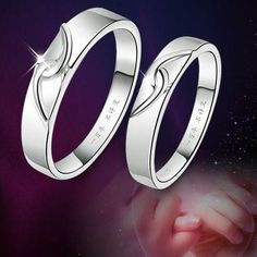 White Copper 925 Sterling Silver Couple Rings Tail Ring with Double Hearts for Men-Silver