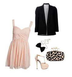 light pink dress & black blazer outfit. Formal night on the cruise! :)