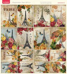 "Vintage collage ""Paris"" themed postcards with Eiffel tier, blooms & script writing Картинки.Цветы.Винтаж.Разное.. Обсуждение на LiveInternet - Российский Сервис Онлайн-Дневников"