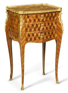 c1765 A late Louis XV gilt-bronze mounted tulipwood, rosewood and sycamore marquetry and cube parquetry table by Léonard Boudin, circa 1765 Estimate     15,000 — 20,000  GBP 19,325 - 25,766USD LOT SOLD. 15,000 GBP (19,325 USD) (Hammer Price with Buyer's Premium)