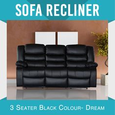 New Recliner Modern Bonded Leather Black Smart Ultra Cushioned Stylish Dream Recliner Slipcover, Sofa Chair, Leather Recliner, Leather Sofa, Modern Recliner, Lounge Suites, Soft Pillows, Slipcovers For Chairs, Bonded Leather