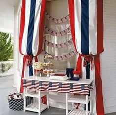 I love this patriotic porch decor for the of July. - could be table backdrop for Memorial Day BBQ Fourth Of July Decor, 4th Of July Celebration, 4th Of July Decorations, Party Table Decorations, 4th Of July Party, July 4th, Holiday Decorations, Outdoor Decorations, Birthday Decorations