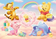 Baby Tigger, Pooh Bear, Piglet and Eeyore Eeyore, Tigger And Pooh, Cute Winnie The Pooh, Winnie The Pooh Nursery, Winne The Pooh, Winnie The Pooh Quotes, Winnie The Pooh Friends, Cute Disney, Disney Art
