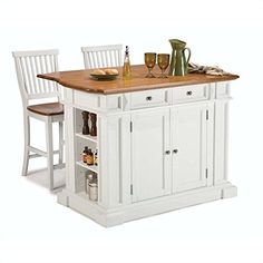 Home Styles Large Kitchen Island Set with 2 Stationary Stools - Antique White & Oak - Kitchen Islands and Carts at Hayneedle Mobile Kitchen Island, Portable Kitchen Island, Large Kitchen Island, Kitchen Island With Seating, Kitchen Tops, New Kitchen, Kitchen Carts, Kitchen Dining, Cherry Kitchen