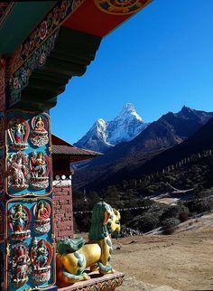 Ama Dablam Peak seen from Tengboche Monastery in Khumbu, Nepal