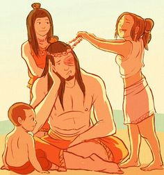 Airbender: All Grown Up - Firelord Zuko, his daughter, Avatar Aang and Katara's daughter and son, Kya and Tenzin