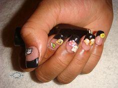 Black+Tip+Acrylic+Nails | Black Tip Acrylic Nail Designs