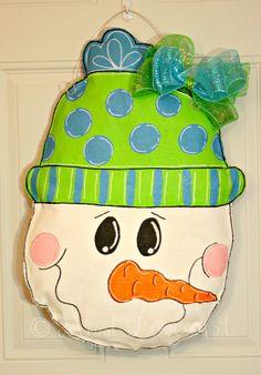 Snowman Christmas Burlap Door Hanger Decoration HUGE Winter Holiday. $40.00, via Etsy.