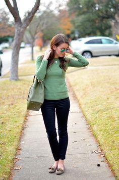 Love this simple weekend look: Green Sweater Autumn Winter Fashion, Winter Style, Fall Fashion, Womens Fashion, Fall Outfits, Cute Outfits, Fashion Outfits, Dallas Wardrobe, Autumn Street Style