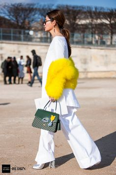Stacie Chen at Paris Fashion Week, armed with Fauré Le Page Parade Bag and Medal Coup de Tete