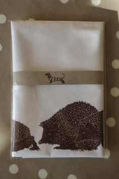 100 cotton tea towel with Three Hedgehogs and a by BabsPeaseDesign, $12.69